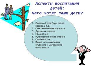 Аспекты воспитания детей: Чего хотят сами дети? Основной уход (еда, тепло, од
