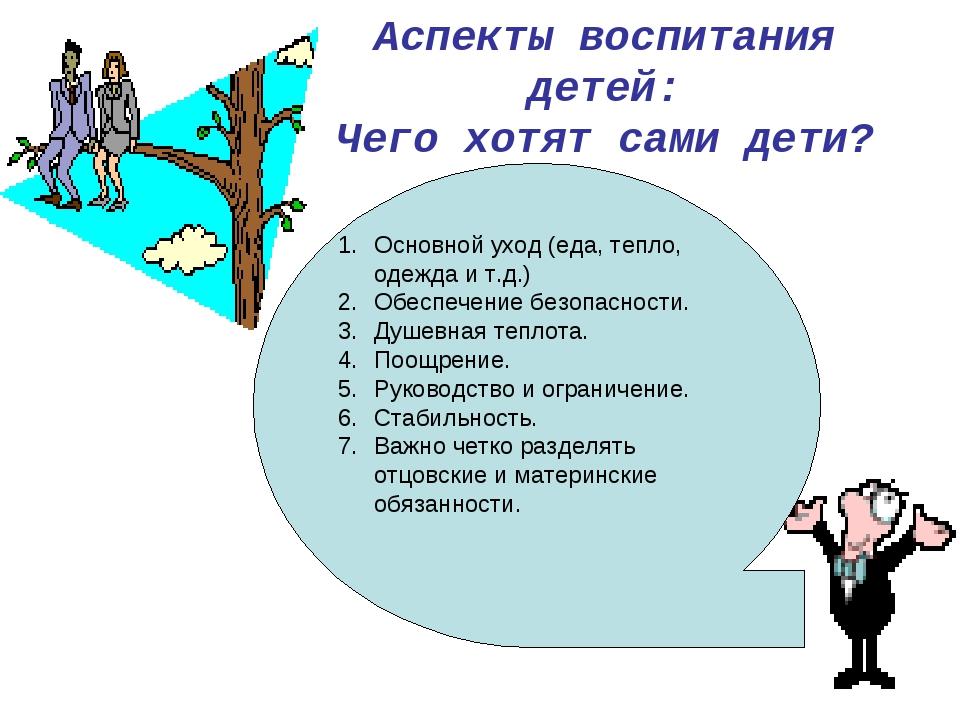 Аспекты воспитания детей: Чего хотят сами дети? Основной уход (еда, тепло, од...
