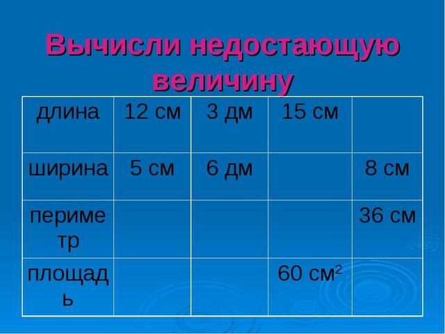 Вычисли недостающую величину длина12 см3 дм15 см ширина5 см6 дм8 см п...