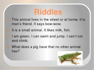Riddles This animal lives in the street or at home. It is man's friend. It sa