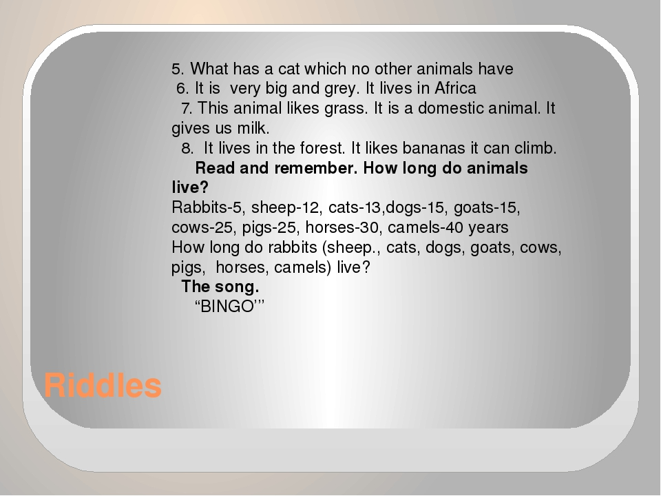 Riddles 5. What has a cat which no other animals have 6. It is very big and g...