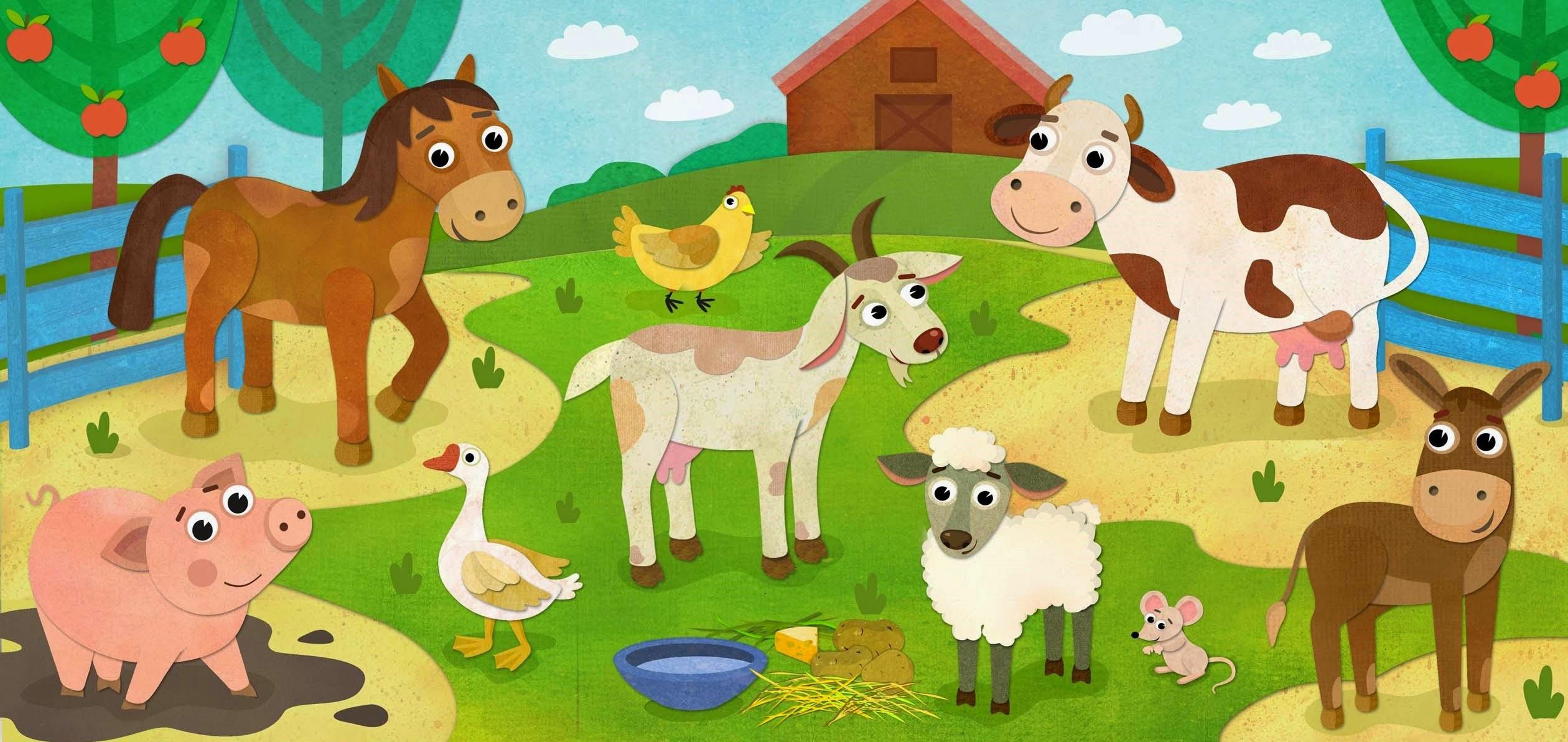 День, рисованные картинки для детей домашние животные