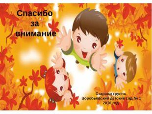Спасибо за внимание Старшая группа Воробьёвский детский сад № 1 2016 год