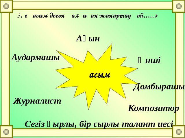 3. «Қасым деген қалғыған жанартау ғой......» Ақын Әнші Композитор Сегіз қырлы...