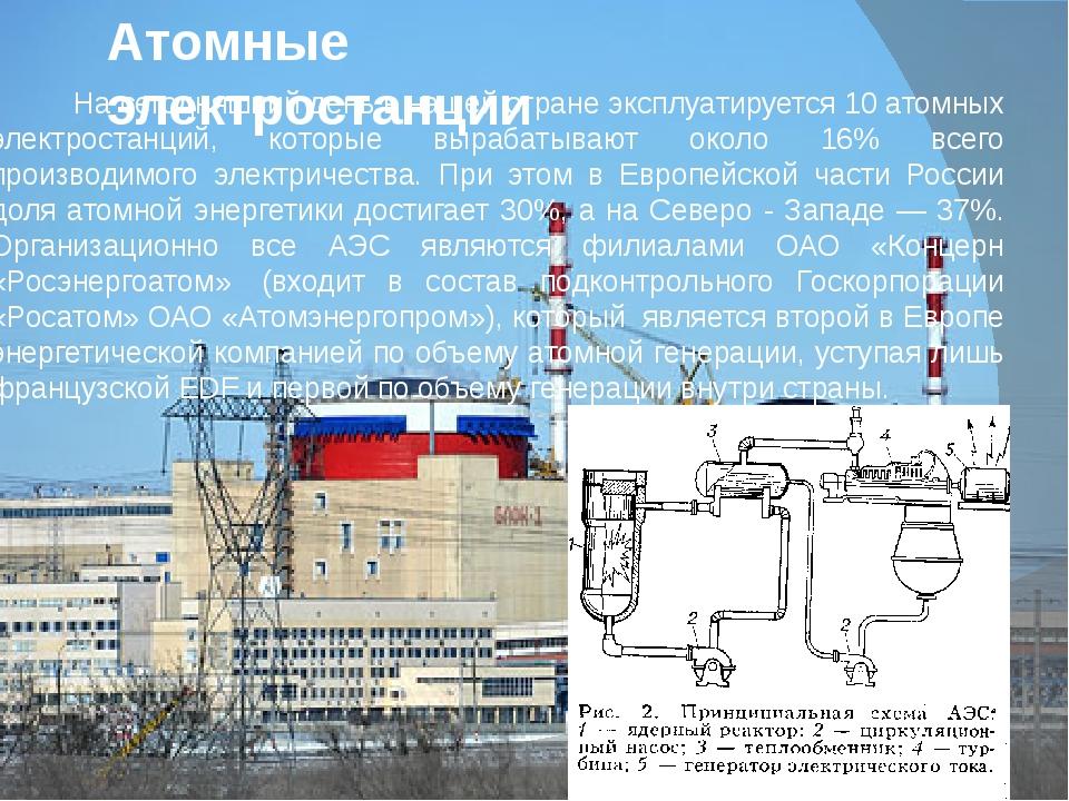 Атомные электростанции На сегодняшний день в нашей стране эксплуатируется 10...