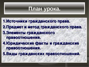 План урока. 1.Источники гражданского права. 2.Предмет и метод гражданского пр
