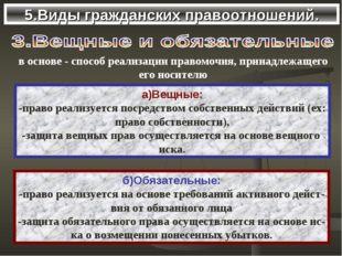 5.Виды гражданских правоотношений. а)Вещные: -право реализуется посредством с