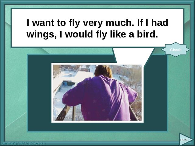 next I want to fly very much. If I (have) wings, I (fly) like a bird. I want...