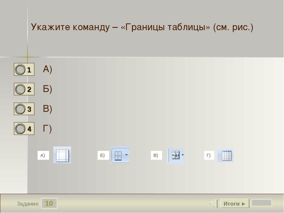 10 Задание Укажите команду – «Границы таблицы» (см. рис.) А) Б) В) Г) Итоги ►...
