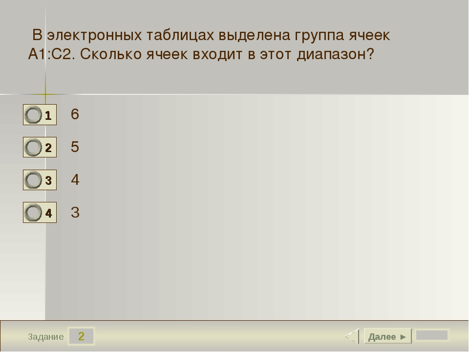 2 Задание 6 5 4 3 Далее ► В электронных таблицах выделена группа ячеек А1:С2....