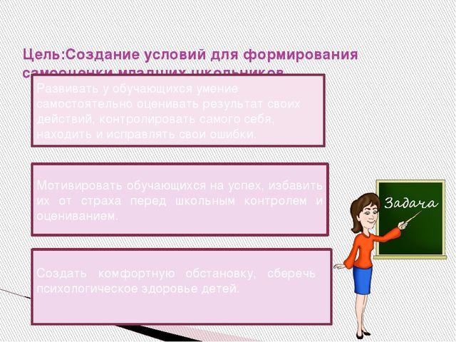 Цель:Создание условий для формирования самооценки младших школьников. Основн...