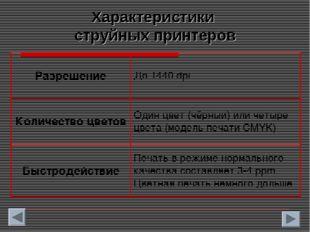 Характеристики струйных принтеров РазрешениеДо 1440 dpi Количество цветовОд