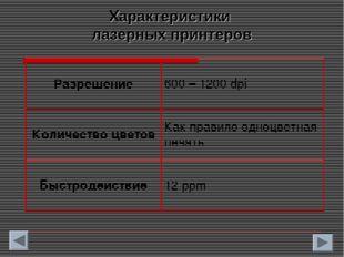Характеристики лазерных принтеров Разрешение600 – 1200 dpi Количество цветов