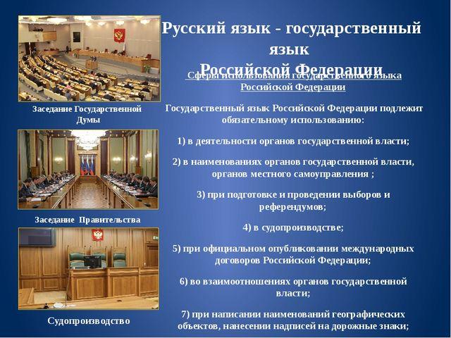Русский язык - государственный язык Российской Федерации Сферы использования...