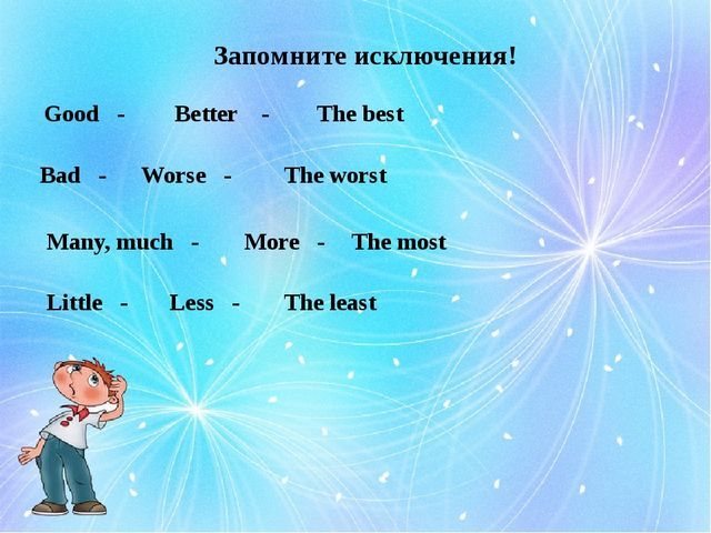 Запомните исключения! Good - Better - The best Bad - Worse - The worst Many,...