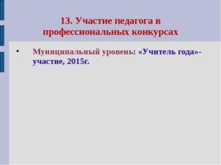 13. Участие педагога в профессиональных конкурсах Муниципальный уровень: «Учи