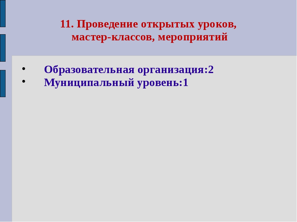 11. Проведение открытых уроков, мастер-классов, мероприятий Образовательная о...