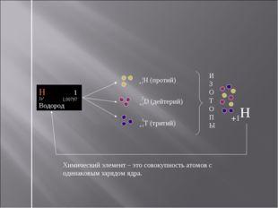+1H (протий) +1D (дейтерий) +1T (тритий) Химический элемент – это совокупност