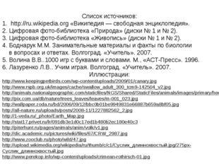 Список источников: 1. http://ru.wikipedia.org «Википедия — свободная энциклоп