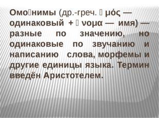 Омо́нимы(др.-греч.ὁμός— одинаковый +ὄνομα— имя)— разные по значению, но