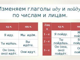 Изменяем глаголы иду и пойду по числам и лицам. Лицоед.ч.мн.ч. 1 – е Я иду