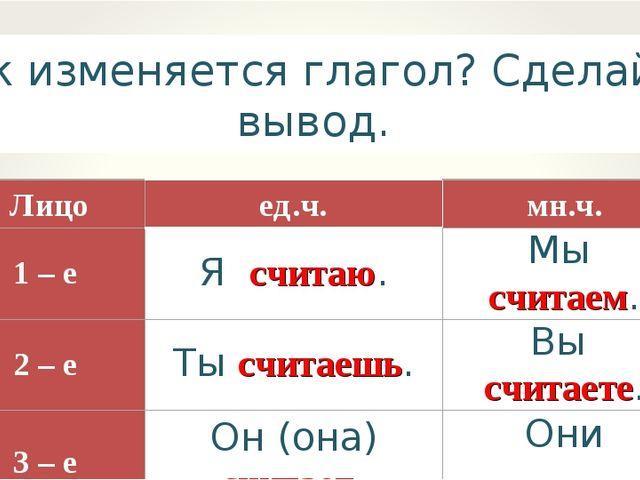 Как изменяется глагол? Сделайте вывод. Лицоед.ч.мн.ч. 1 – е Я считаю.Мы с...