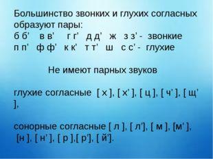 Большинство звонких и глухих согласных образуют пары: б б' в в' г г' д д' ж з