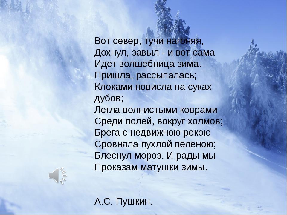 Вот север, тучи нагоняя, Дохнул, завыл - и вот сама Идет волшебница зима. При...