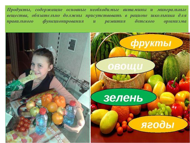 Продукты, содержащие основные необходимые витамины и минеральные вещества, об...