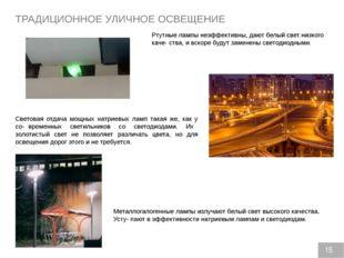 ТРАДИЦИОННОЕ УЛИЧНОЕ ОСВЕЩЕНИЕ Ртутные лампы неэффективны, дают белый свет ни