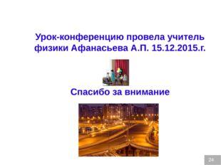 24 Урок-конференцию провела учитель физики Афанасьева А.П. 15.12.2015.г. Спас
