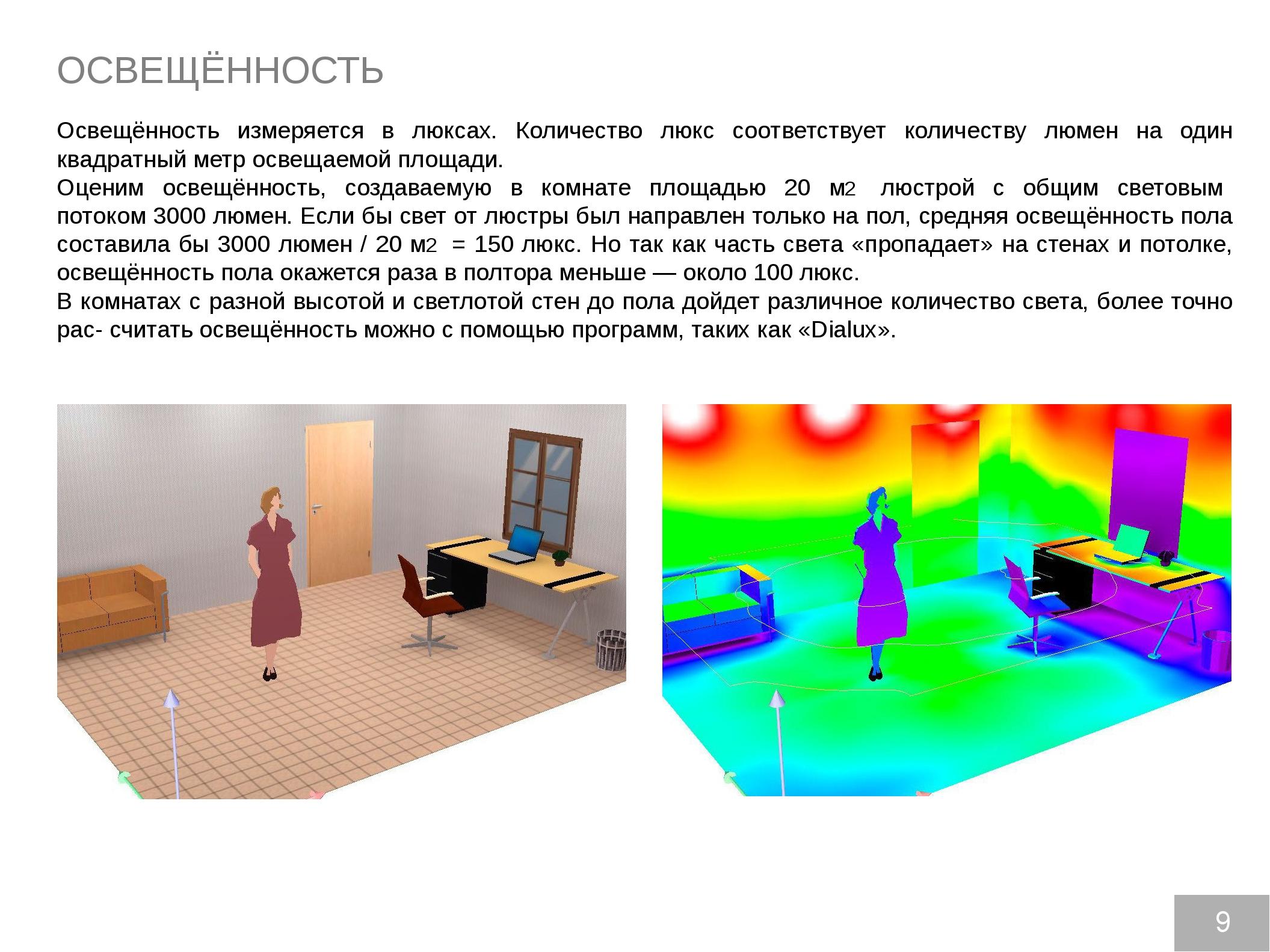 ОСВЕЩЁННОСТЬ Освещённость измеряется в люксах. Количество люкс соответствует...