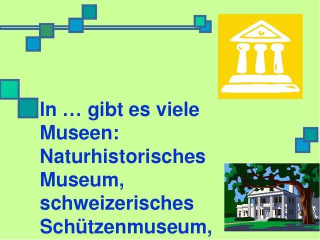 In … gibt es viele Museen: Naturhistorisches Museum, schweizerisches Schützen...