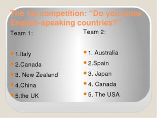 "The 1st competition: ""Do you know English-speaking countries?"" Team 1: 1.Ital"
