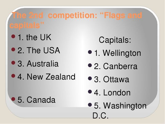 "The 2nd competition: ""Flags and capitals"" 1. the UK 2. The USA 3. Australia..."