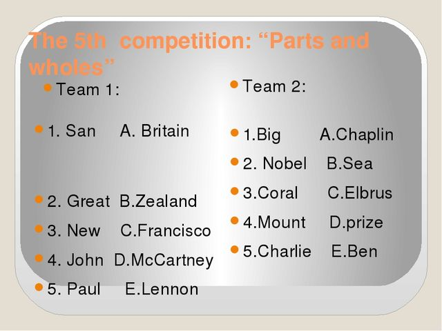 "The 5th competition: ""Parts and wholes"" Team 1: Team 2: 1. San A. Britain 2...."