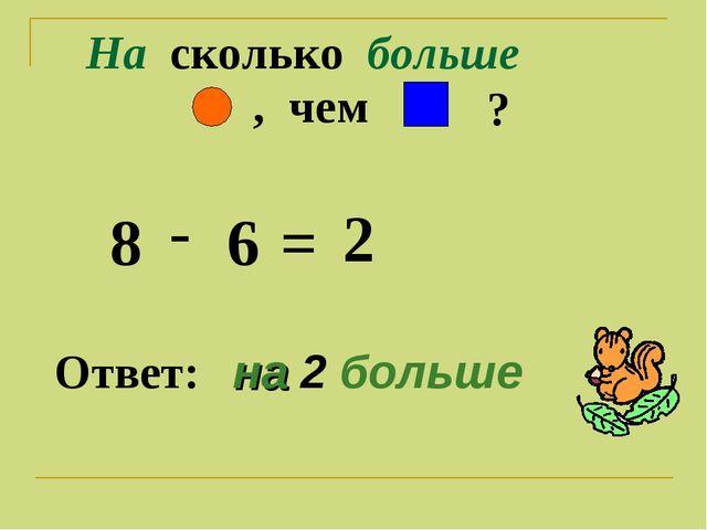 На сколько больше ? , чем 8 - 6 = 2 Ответ: на 2 больше