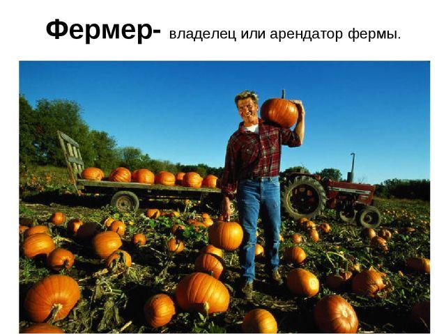 Фермер- владелец или арендатор фермы.