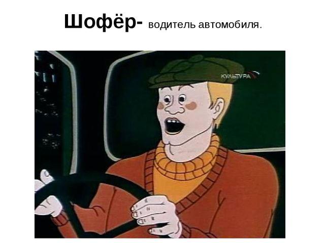 Шофёр- водитель автомобиля.