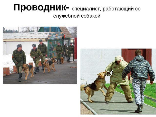 Проводник- специалист, работающий со служебной собакой
