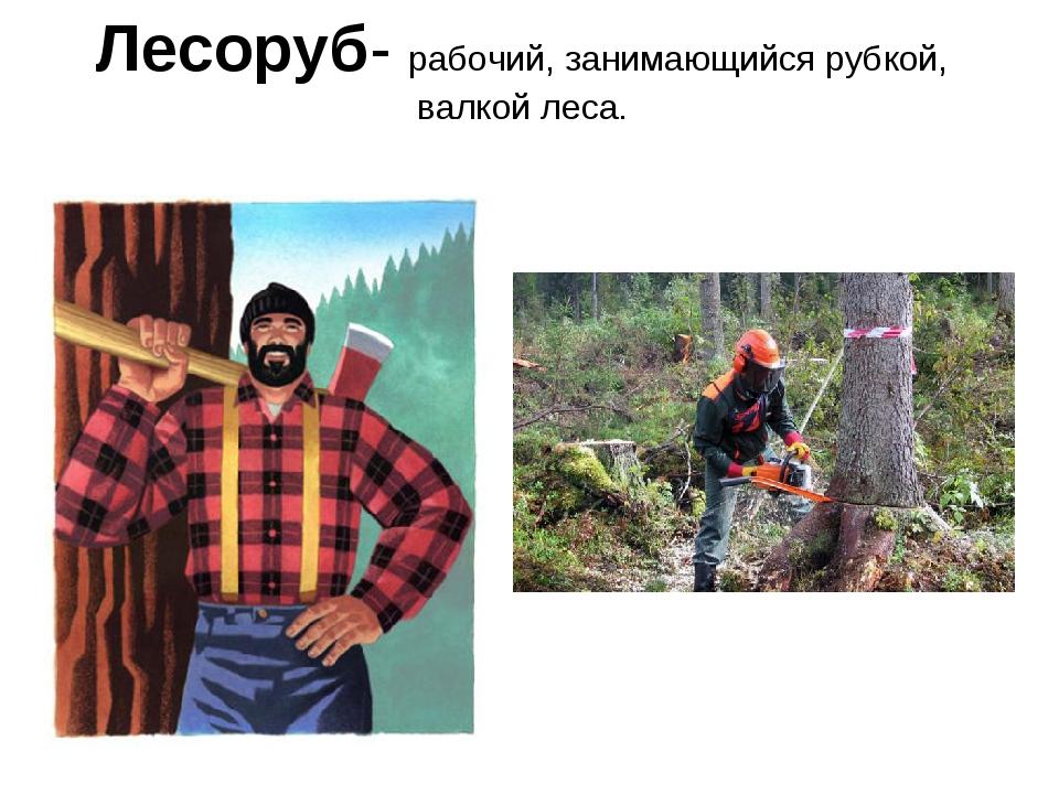 Лесоруб- рабочий, занимающийся рубкой, валкой леса.