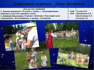 Бортовой журнал. День десятый День русских традиций 1. Игровая программа «В г