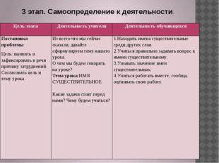 3 этап. Самоопределение к деятельности. Цель этапа Деятельность учителя Деяте