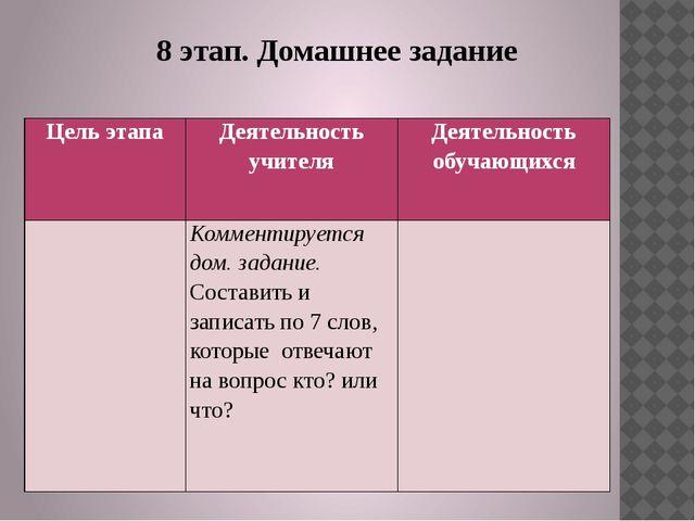 8 этап. Домашнее задание Цель этапа Деятельность учителя Деятельность обучающ...