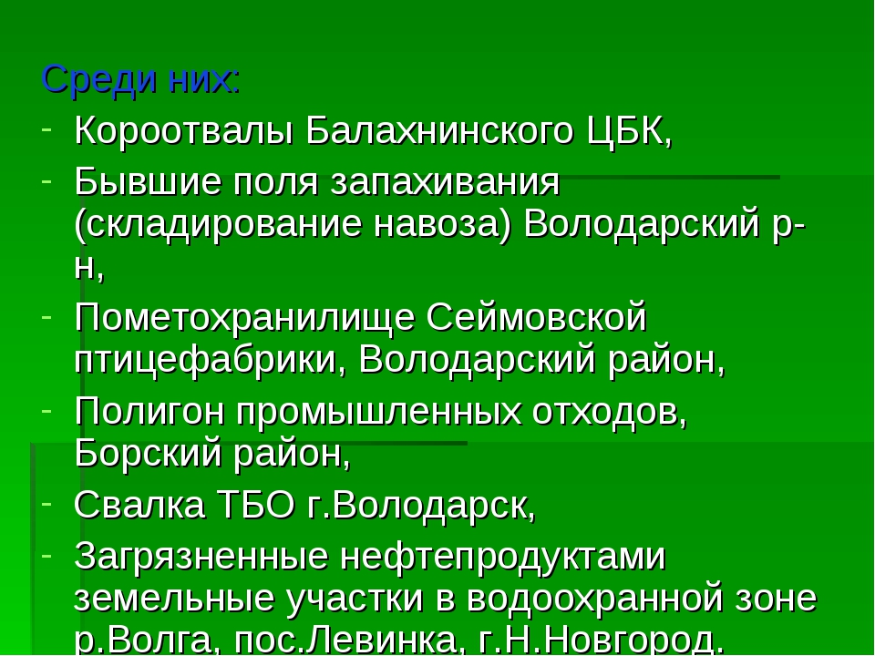 Среди них: Короотвалы Балахнинского ЦБК, Бывшие поля запахивания (складирован...