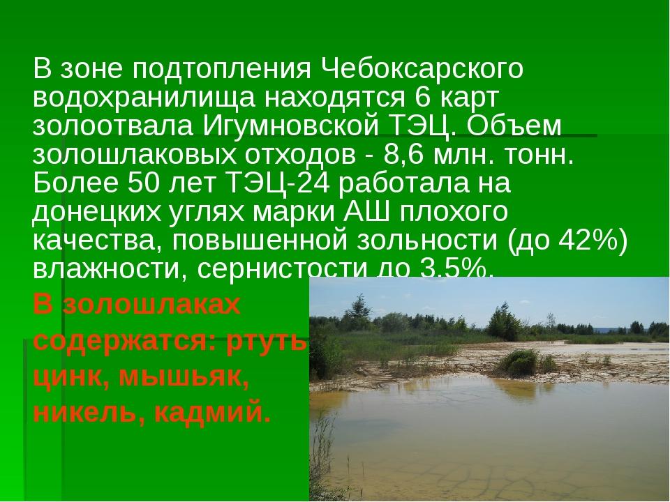 В зоне подтопления Чебоксарского водохранилища находятся 6 карт золоотвала И...