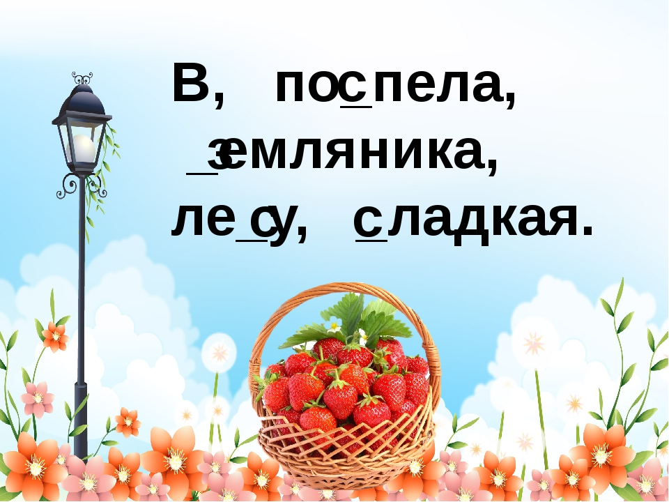 В, по_пела, _емляника, ле_у, _ладкая. с з с с