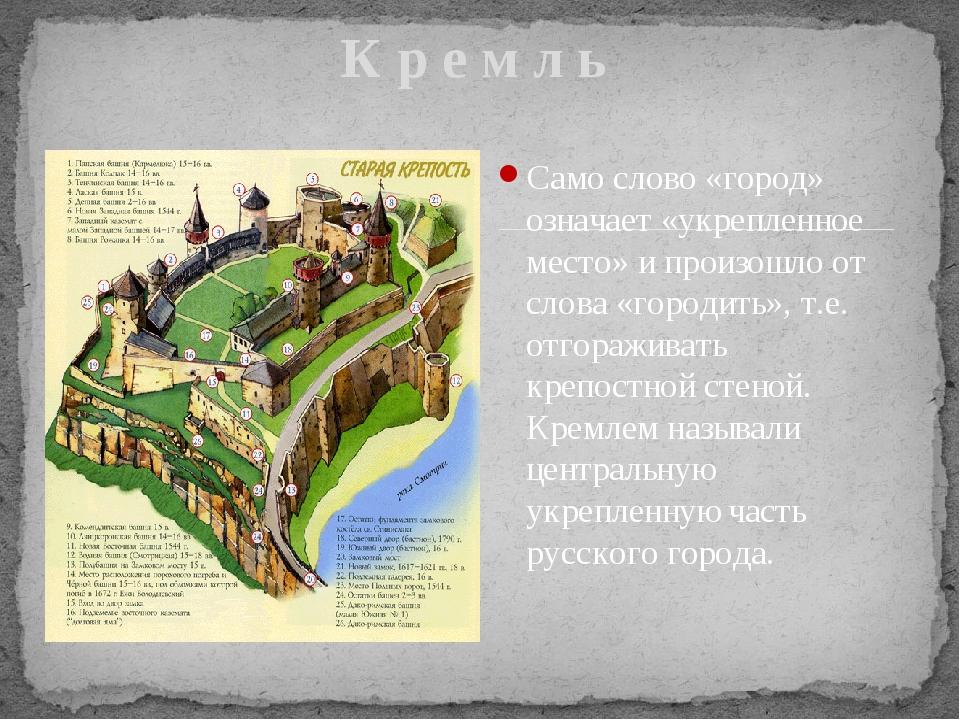 Само слово «город» означает «укрепленное место» и произошло от слова «городи...