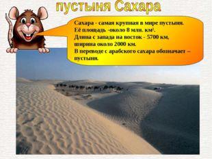 Сахара - самая крупная в мире пустыня. Её площадь -около 8 млн. км². Длина с