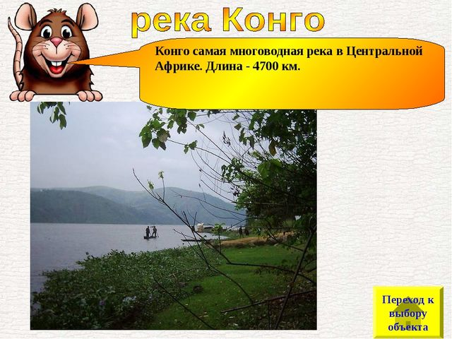 Конго самая многоводная река в Центральной Африке. Длина - 4700 км. Переход к...
